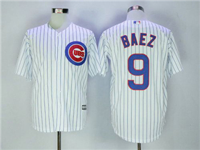 chicago cubs 9 javier baez home white pinstripe cool base
