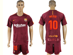 fe94d1d7687 FC Barcelona 2017 18 Third Dark Maroon Soccer Jersey with  10 Messi Printing